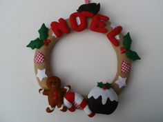 handcrafted Christmas felt cookie dough effect wreath