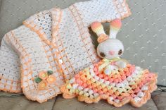 baby jacket and bunny rabbit lovey free crochet patterns
