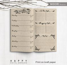Hebdomadaire imprimable, Midori hebdomadaire, inserts de planificateur hebdomadaires d'imprimable Midori voyageur carnet de notes, fichier PDF