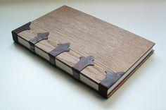 Elegant handmade book, bound in dark brown goatskin and wood. Journal, diary, sketchbook.
