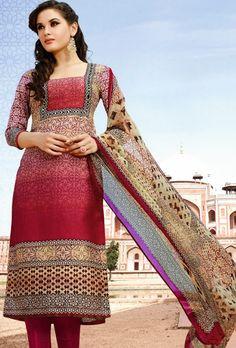 Maroon printed designer suit with dupatta - Desi Royale