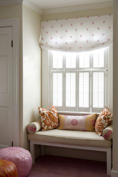 Finnians Moon Interiors: Adorable window seat in girls room with white & pink roman shade, white bench with . Girl Room, Girls Bedroom, Bedroom Decor, Design Bedroom, Bookshelf Design, Red Pillows, Cozy Nook, Banquettes, Deco Design