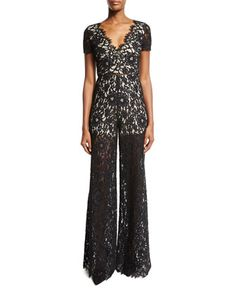 Mariam Short-Sleeve Wide-Leg Lace Jumpsuit, Multicolor by Alice   Olivia at Neiman Marcus.