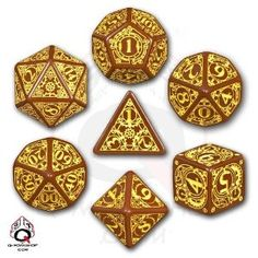 Q-Workshop Polyhedral 7-Die Set: Carved Steampunk Dice Set
