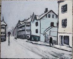 Amund Håland:   Fra norsk småby 8, 46x38 cm olje på lerret, 2017...