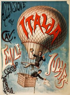Ascensione del cavaliere Emile Julhes, early flight poster, ca. 1890