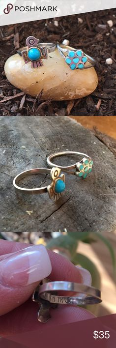 Dainty vintage turquoise rings Bundle of sweet dainty vintage rings / Thunderbird is sterling as shown / size 5 / Daisy chip inlay is not Hallmarked but is sterling silver / size 6.5 / Boho / Gypsy Vintage Jewelry Rings