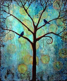 Twlight with two blackbirds in a tree by Blenda Tyvoll prints $20 http://www.blendastudio.com/signed-prints/twilight-tree-matted-signed-print