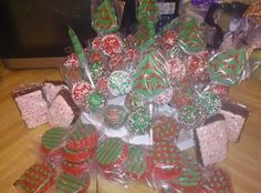 Christmas tree chocolate pops. Christmas cake pops.  Christmas chocolate covered oreos.  White chocolate peppermint brownie.