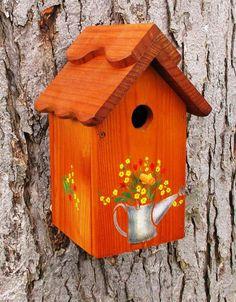 Orange bird house