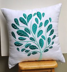 Teal Pillow Cover, Throw Pillow Cover , White Linen, Teal Peacock, Embroidered, Cushion Cover, Accent Pillow (16 inch x 16 inch) KAINKAIN http://www.amazon.com/dp/B00KU3MCK8/ref=cm_sw_r_pi_dp_xTTcvb11Z7MSA