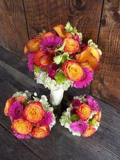 Wedding, Flowers, Pink, Green, Ceremony, Orange, Bridesmaids, Brides
