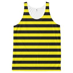 Black and Yellow Stripes All-Over Print Tank Top Tank Tops