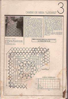 """Patrón #51: Camino de Mesa """"Ajedrez"""" a Crochet ~ CTejidas [Crochet y Dos Agujas]"""