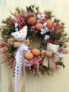 Easter Wreaths, Christmas Wreaths, Spring Wreaths, April Easter, Easter Crochet, Button Crafts, Diy Wreath, Easter Crafts, Holidays And Events