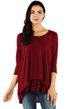Burgandy shirt with lace layered look peeking out.  perfect fall 2015 style trend www.laneylus.com
