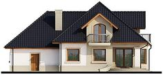 Elewacja tylna projektu Dandys 1 G2 Cabin, Mansions, House Styles, Villas, Home Decor, Decoration Home, Manor Houses, Room Decor, Cabins