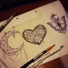 Some little ones id like to tattoo See me at The Projects Tattoo or email me> sophie.adamson@hotmail.co.uk #tattoo #design #moon #heart #butterfly #neotraditional #art #moonjewell #ladytattooers...