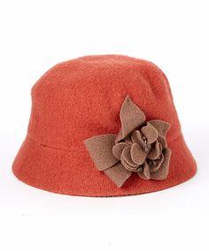 6f0ba03bc13 Apricot Floral-Appliqué Wool Bucket Hat