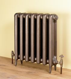 Edwardian 2 cast iron radiator with Chartwell thermostatic valves in distressed brass