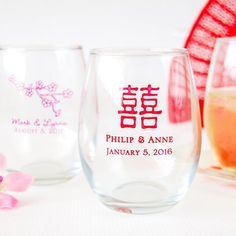 Personalized Asian Themed Stemless Wine Glasses