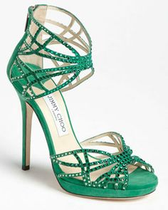 Jimmy Choo emerald green cut-out strappy sandal with rhinestone embellishment