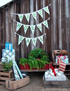 Make wrapping paper bunting. | 19 Clever Ways To Use Leftover Wrapping Paper