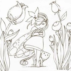 This coloring book page would be a lovely embroidery pattern. Coloring Book Pages, Coloring Sheets, Embroidery Stitches, Embroidery Patterns, Illustrations, Illustration Art, Digi Stamps, Copics, Sketches