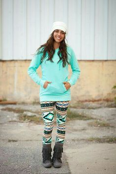 Love the print on th  leggings and the mint color of the top