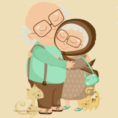 Cute old couple Art And Illustration, Illustration Mignonne, Vieux Couples, Old Couples, Art Mignon, Clipart, Love Art, Cute Pictures, Whimsical