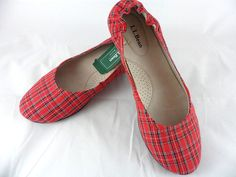 LL Bean Womens Slip On Skimmer Shoes Red Plaid Print Flats Size 7.5 New With Tag #LLBean #BalletFlats