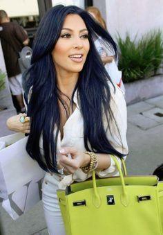 Im obsessed with blue-ish black hair! Midnight navy blue Kim Kardashian