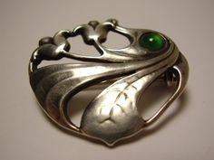 Antique German Art Nouveau Jugendstil Silver Brooch Pin with Green Chrysoprase or Glass Stone