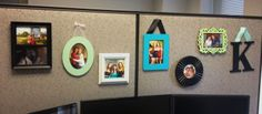 Cubicle Decor! Paint wooden frames in coordinating colors to spice up your work desk.