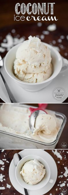 This delicious and creamy Coconut Ice Cream is made the old fashioned way with toasted coconut and both heavy cream as well as coconut cream & coconut milk. (cookie pizza with ice cream) Ice Cream Treats, Ice Cream Desserts, Frozen Desserts, Ice Cream Recipes, Frozen Treats, Homemade Coconut Ice Cream, Coconut Cream, Toasted Coconut, Coconut Milk