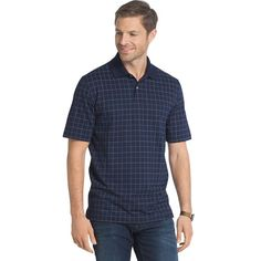 Men's Arrow Classic-Fit Windowpane Polo, Size: Medium, Blue (Navy)