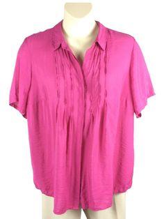 3179b799da8b9 Womens Coldwater Creek Pink Button Down Blouse Plus Size 2X Short Sleeve  Rayon  ColdwaterCreek
