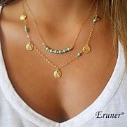 Eruner®+Multi-layer+wafer+and+turquoise+pendant...+–+USD+$+2.99