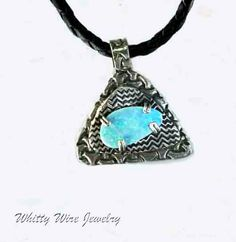 Fine silver and opal pendant by WhittyWireJewelry on Etsy