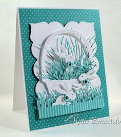 handcrafted Easter card ... Impression Obsession Bunny Set ... turquoise and white ... die cuts only .. basket and grass ... trio of bunnies .. luv it!