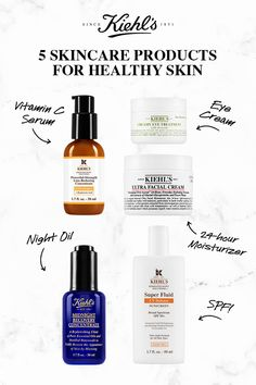 5 Essential Kiehl's Products for your Healthy Skincare Routine: hydrate dry skin with Ultra Facial Cream, treat the delicate under eye area with Creamy Eye Treatment with Avocado, replenish overnight with Midnight Recovery Concentrate, reduce fine lines Skin Care Routine For 20s, Skin Routine, Skincare Routine, Haut Routine, Vitamins For Skin, Facial Cream, Skin Cream, Skin Tag, Eye Treatment