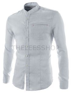 (CZ65-NAVY) Mens Slim Fit Linen China Collar Stitch Patched Pocket Long Sleeve Shirts