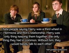 I hate people saying Harry was a third wheel in Hermione and Ron's relationship. Harry was only thing keeping them together, the only thing they had in common. Harry Potter Food, Harry Potter Films, Harry Potter Quotes, Harry Potter Fandom, Harry Potter Bedroom, Ron And Hermione, Harry Potter Drawings, Goblet Of Fire, I Hate People