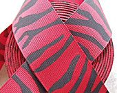 "Red and Black Zebra/Tiger striped Print 1 1/2""  grosgrain ribbon"