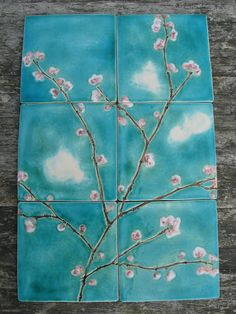 6 cherry blossom ceramic tiles pink turquoise dreamy white clouds kitchen bathroom MADE TO ORDER by damsontreepottery on Etsy https://www.etsy.com/listing/115448929/6-cherry-blossom-ceramic-tiles-pink