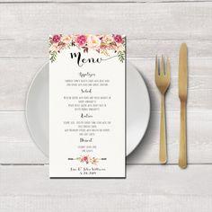 Hochzeit Menü-Karte zum ausdrucken von HappyLifePrintables auf Etsy