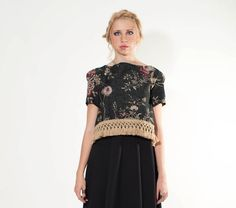 Oversized Floral Top with fringes floral loose by LeMoutonBleuShop