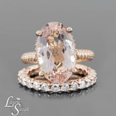 Oval Morganite Engagement Ring w/ Eternity Diamond Wedding Band in 14K Rose Gold - Custom Order Link for katelynroe994 - 2nd Payment by LaurieSarahDesigns on Etsy https://www.etsy.com/listing/263594492/oval-morganite-engagement-ring-w