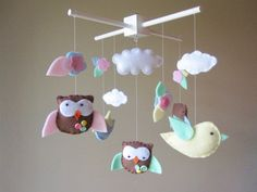 Baby Crib Mobile  Baby Mobile  Owl Mobile  Owls by LoveFeltXoXo, $90.00