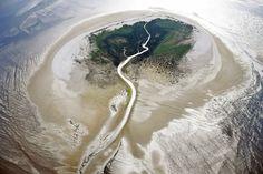 El mar de Frisia en los Países Bajos se puede cruzar a pie desde el continente